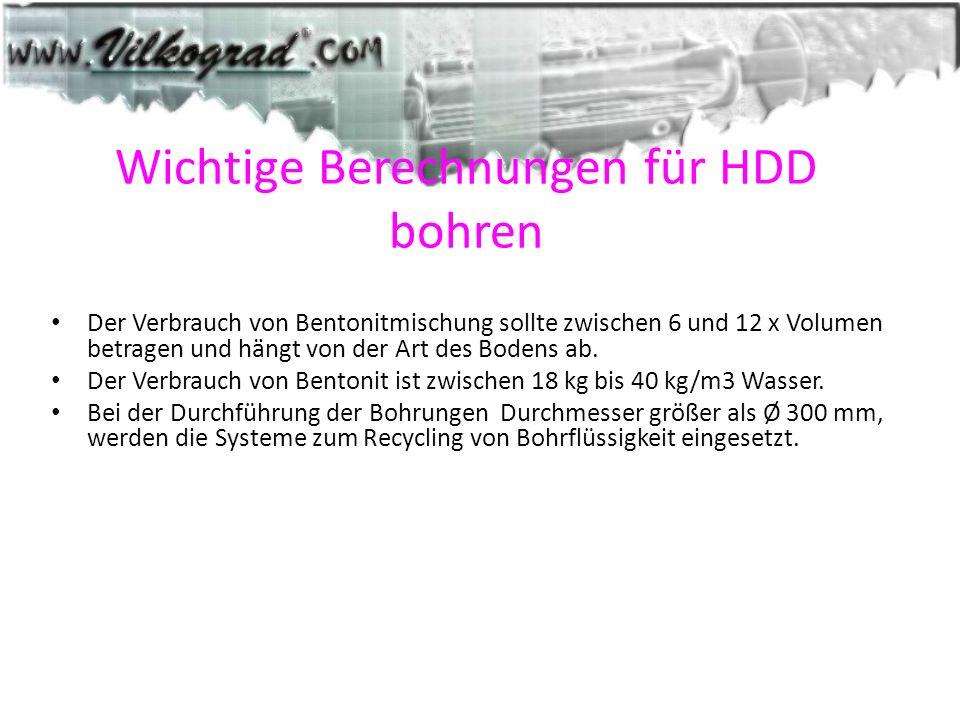 Wichtige Berechnungen für HDD bohren