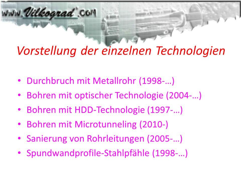Vorstellung der einzelnen Technologien