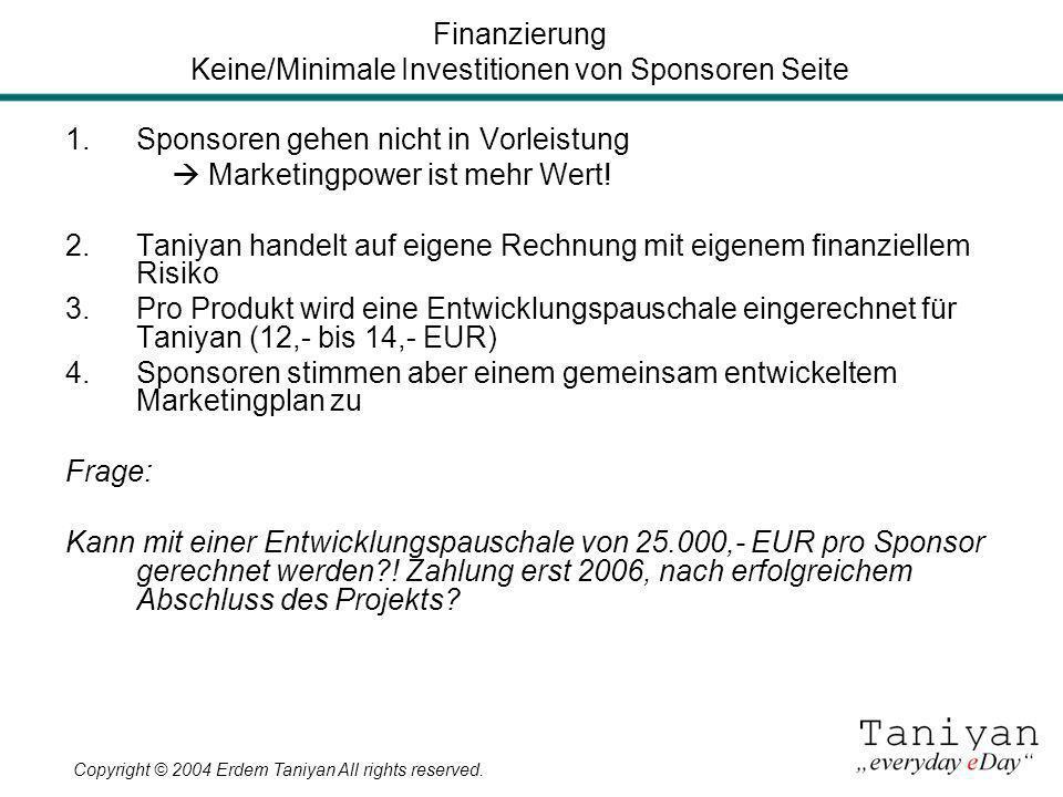 Finanzierung Keine/Minimale Investitionen von Sponsoren Seite