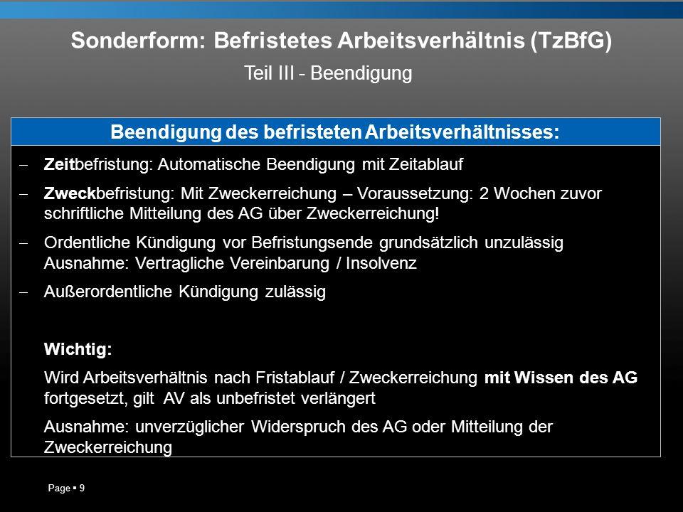 Sonderform: Befristetes Arbeitsverhältnis (TzBfG)