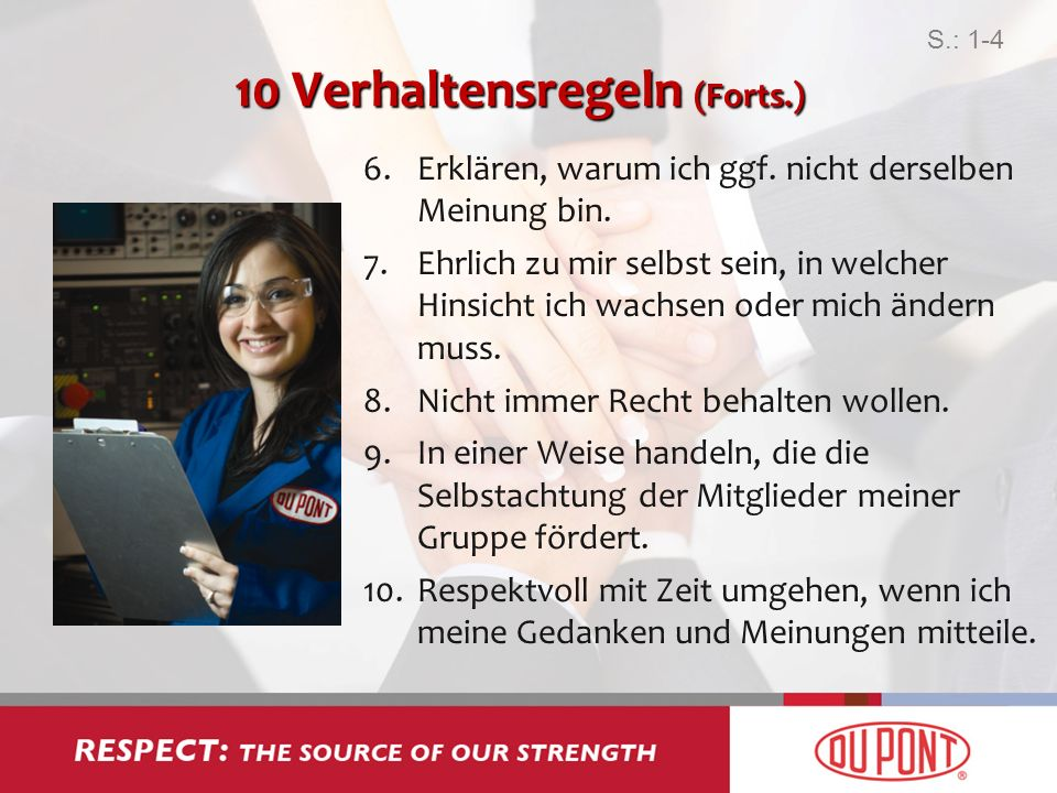 10 Verhaltensregeln (Forts.)