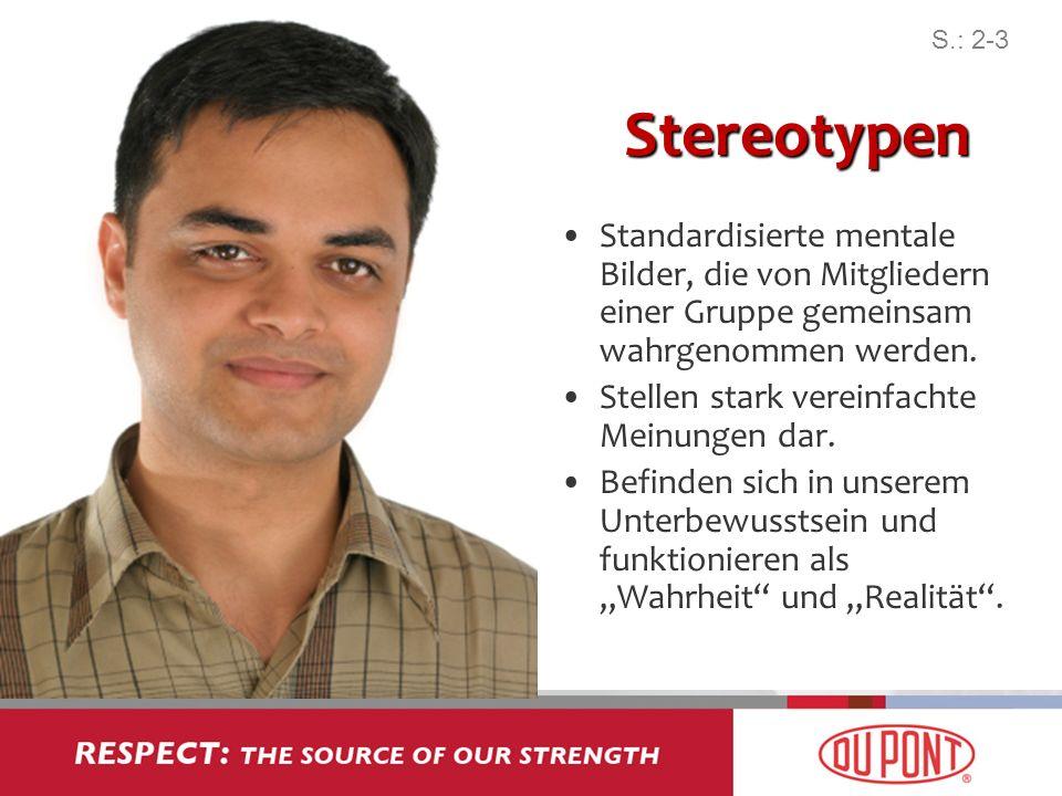 S.: 2-3Stereotypen. Standardisierte mentale Bilder, die von Mitgliedern einer Gruppe gemeinsam wahrgenommen werden.