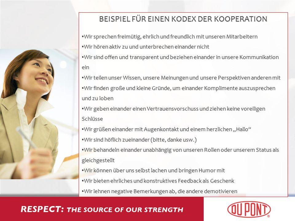 BEISPIEL FÜR EINEN KODEX DER KOOPERATION