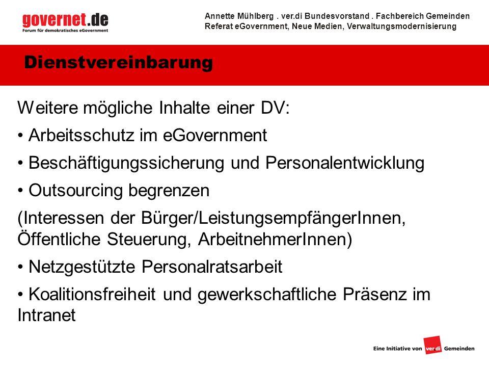 Weitere mögliche Inhalte einer DV: Arbeitsschutz im eGovernment