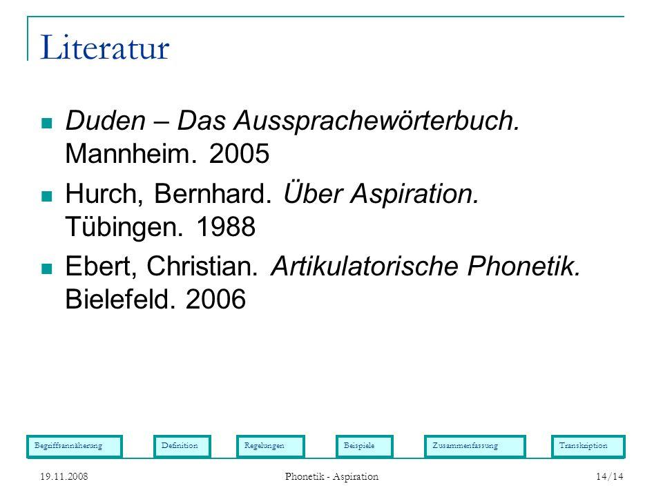 Literatur Duden – Das Aussprachewörterbuch. Mannheim. 2005