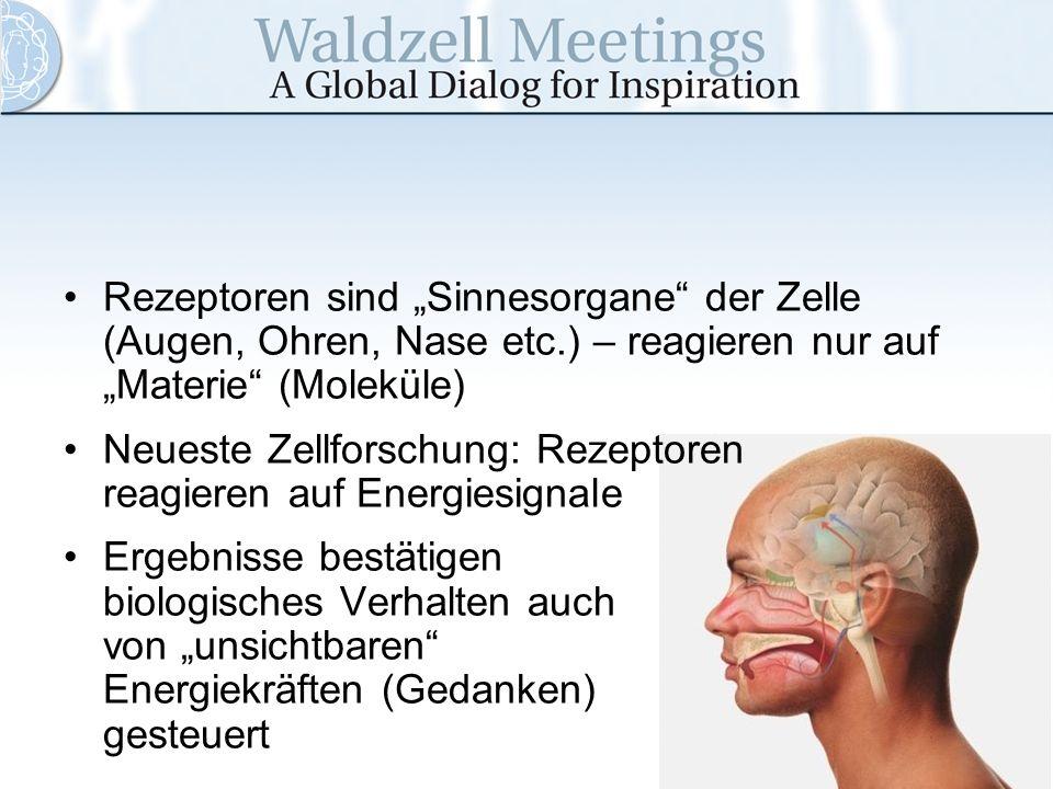 """Rezeptoren sind """"Sinnesorgane der Zelle (Augen, Ohren, Nase etc"""