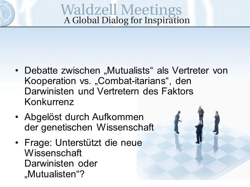 """Debatte zwischen """"Mutualists als Vertreter von Kooperation vs"""
