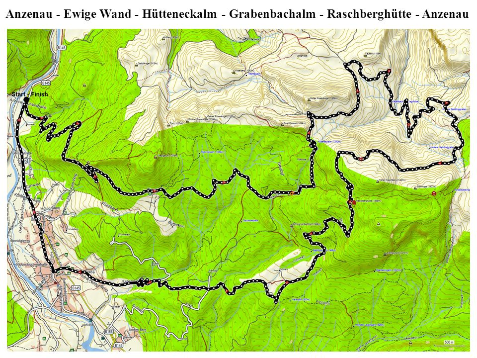 Anzenau - Ewige Wand - Hütteneckalm - Grabenbachalm - Raschberghütte - Anzenau