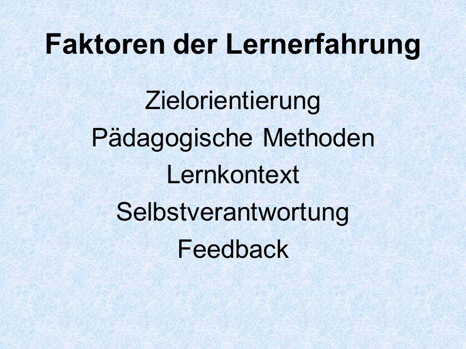 Faktoren der Lernerfahrung