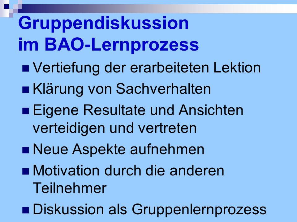 Gruppendiskussion im BAO-Lernprozess