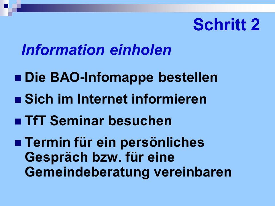 Schritt 2 Information einholen Die BAO-Infomappe bestellen