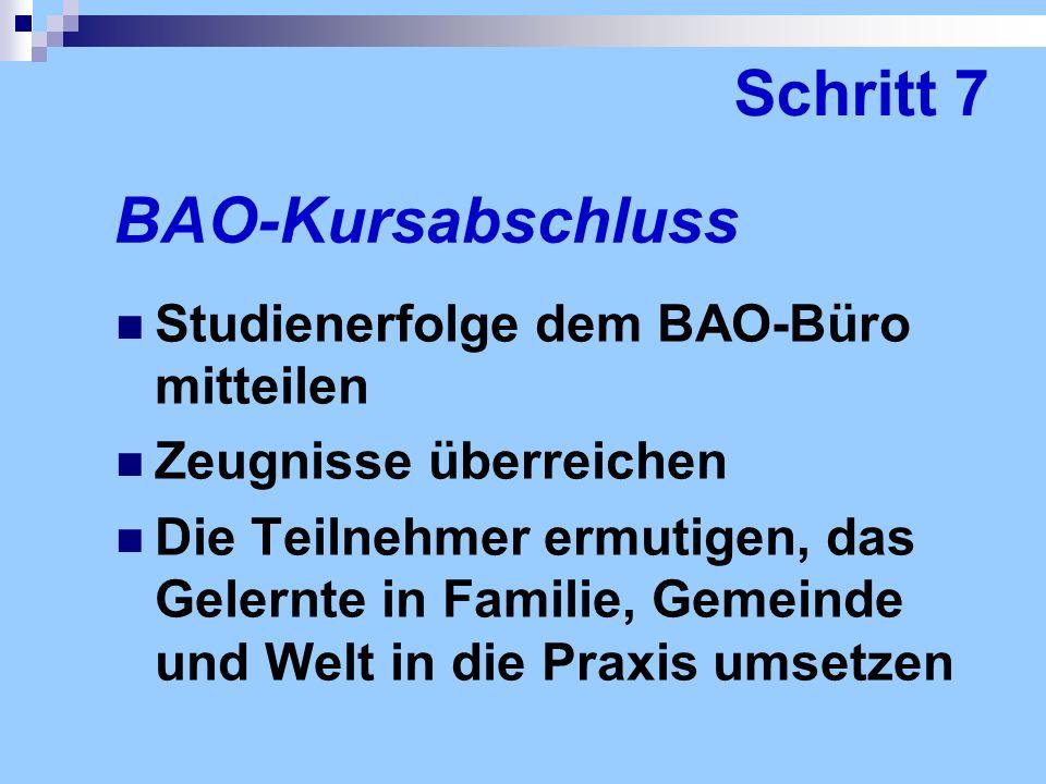 Schritt 7 BAO-Kursabschluss Studienerfolge dem BAO-Büro mitteilen