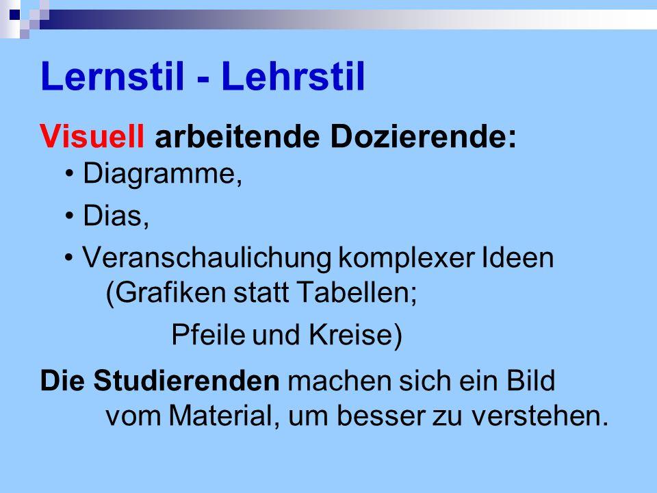 Lernstil - Lehrstil Visuell arbeitende Dozierende: • Diagramme,
