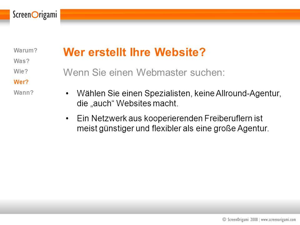 Wer erstellt Ihre Website