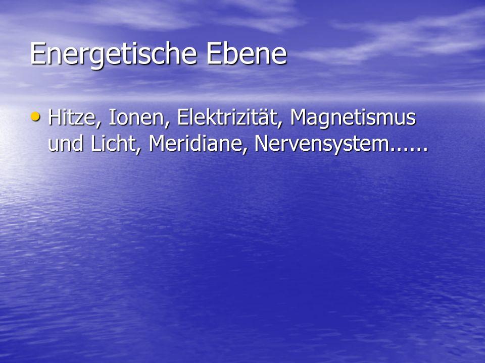 Energetische Ebene Hitze, Ionen, Elektrizität, Magnetismus und Licht, Meridiane, Nervensystem......