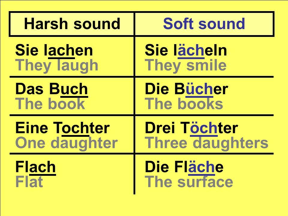 Harsh sound Soft sound. Sie lachen. Das Buch. Eine Tochter. Flach. Sie lächeln. Die Bücher. Drei Töchter.