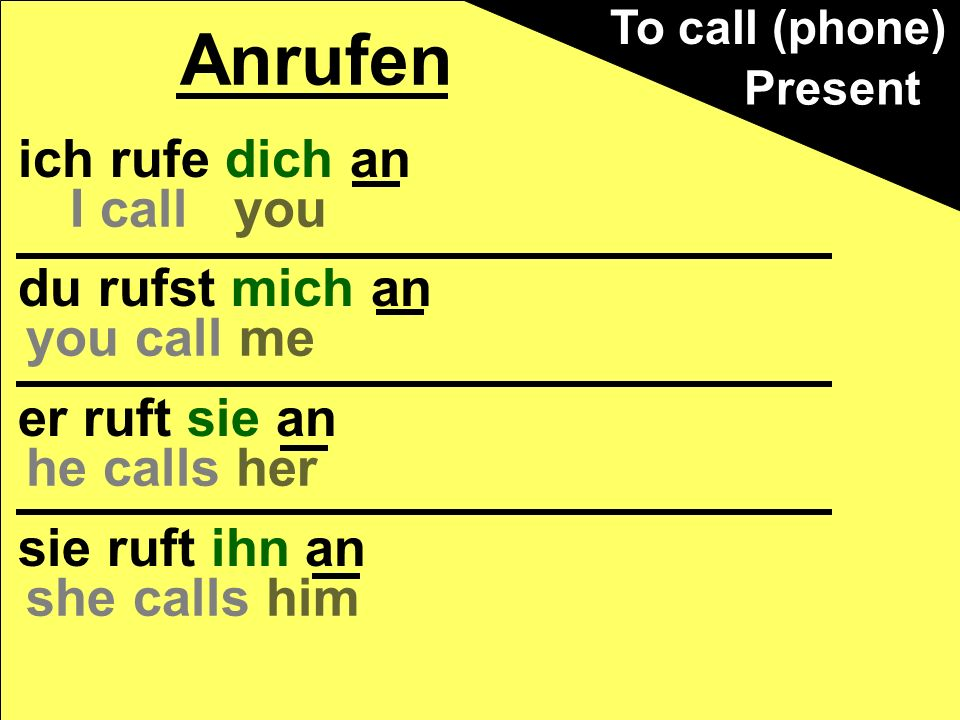 Anrufen ich rufe dich an du rufst mich an I call you you call me