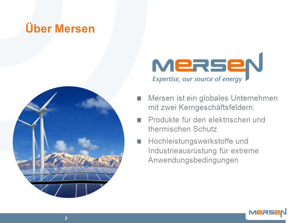 Über Mersen Mersen ist ein globales Unternehmen mit zwei Kerngeschäftsfeldern: Produkte für den elektrischen und thermischen Schutz.