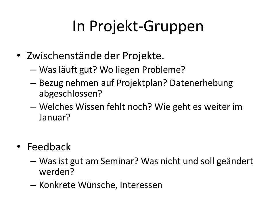 In Projekt-Gruppen Zwischenstände der Projekte. Feedback