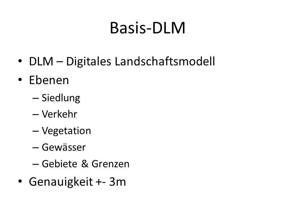 Basis-DLM DLM – Digitales Landschaftsmodell Ebenen Genauigkeit +- 3m