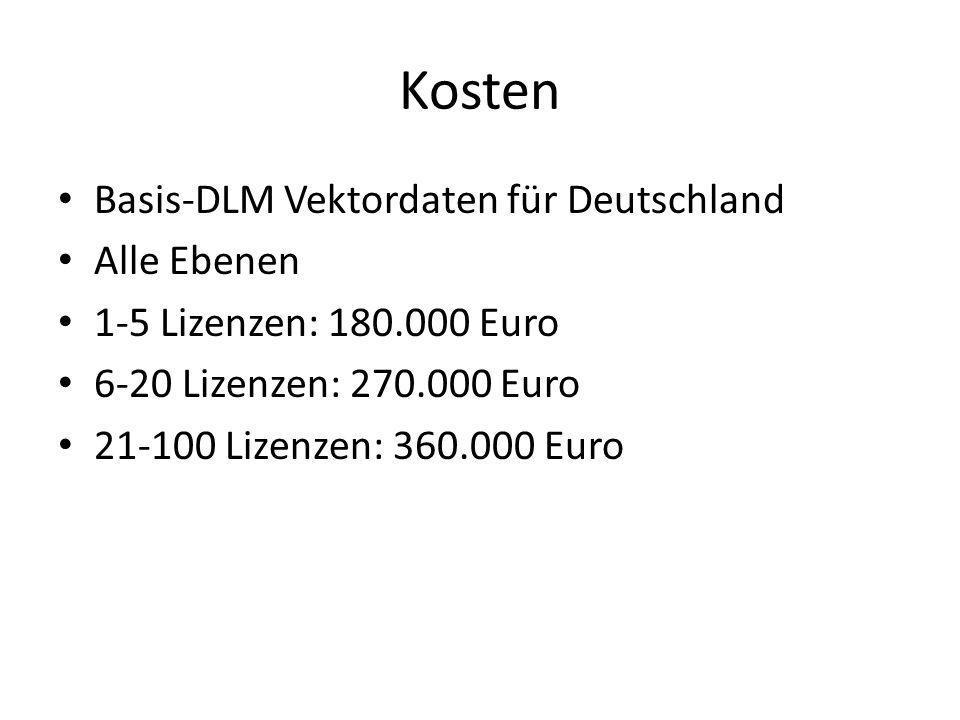 Kosten Basis-DLM Vektordaten für Deutschland Alle Ebenen