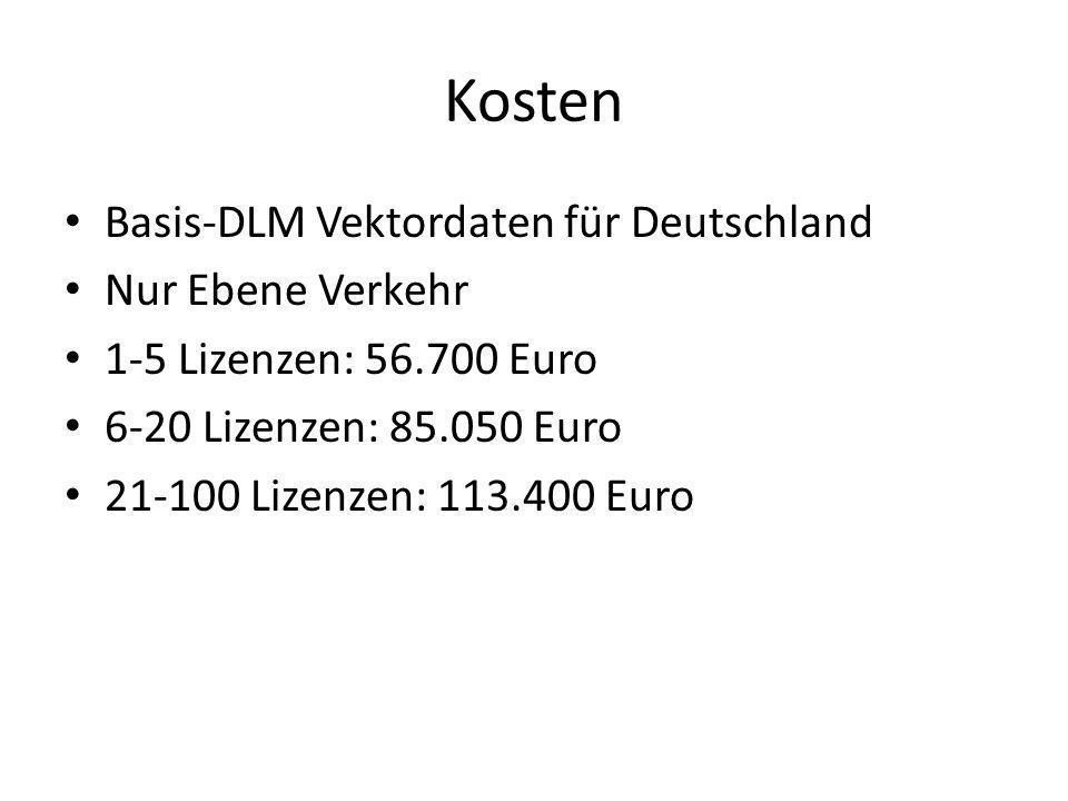 Kosten Basis-DLM Vektordaten für Deutschland Nur Ebene Verkehr