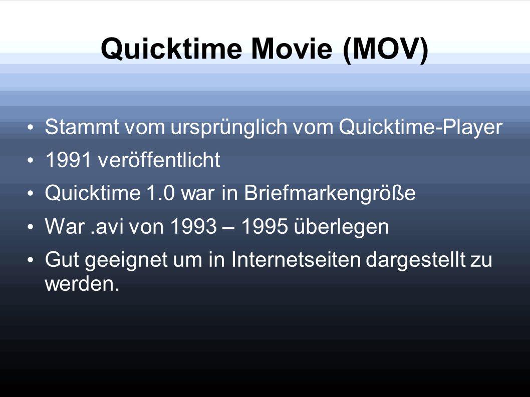 Quicktime Movie (MOV) Stammt vom ursprünglich vom Quicktime-Player