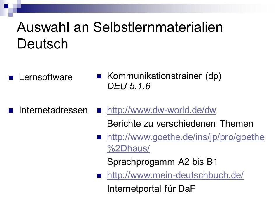 Auswahl an Selbstlernmaterialien Deutsch