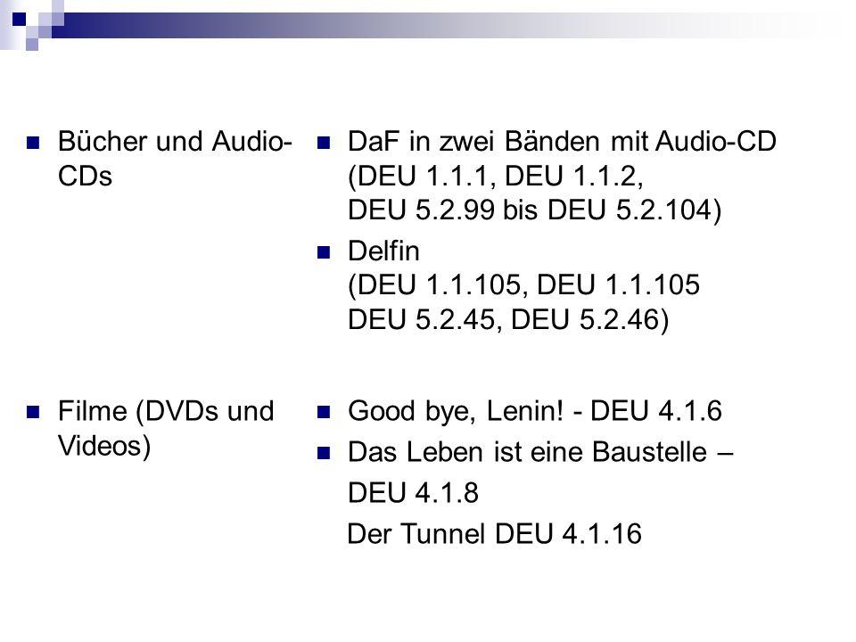 Bücher und Audio-CDsDaF in zwei Bänden mit Audio-CD (DEU 1.1.1, DEU 1.1.2, DEU 5.2.99 bis DEU 5.2.104)