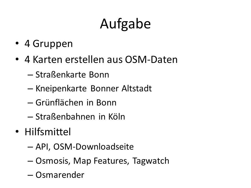 Aufgabe 4 Gruppen 4 Karten erstellen aus OSM-Daten Hilfsmittel