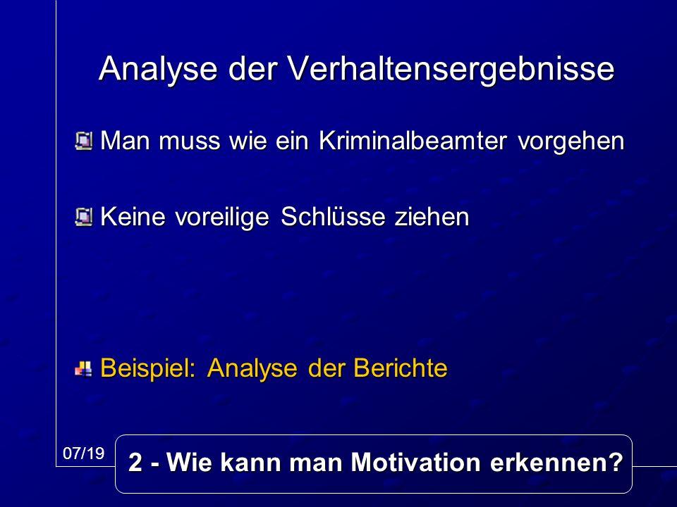 Analyse der Verhaltensergebnisse