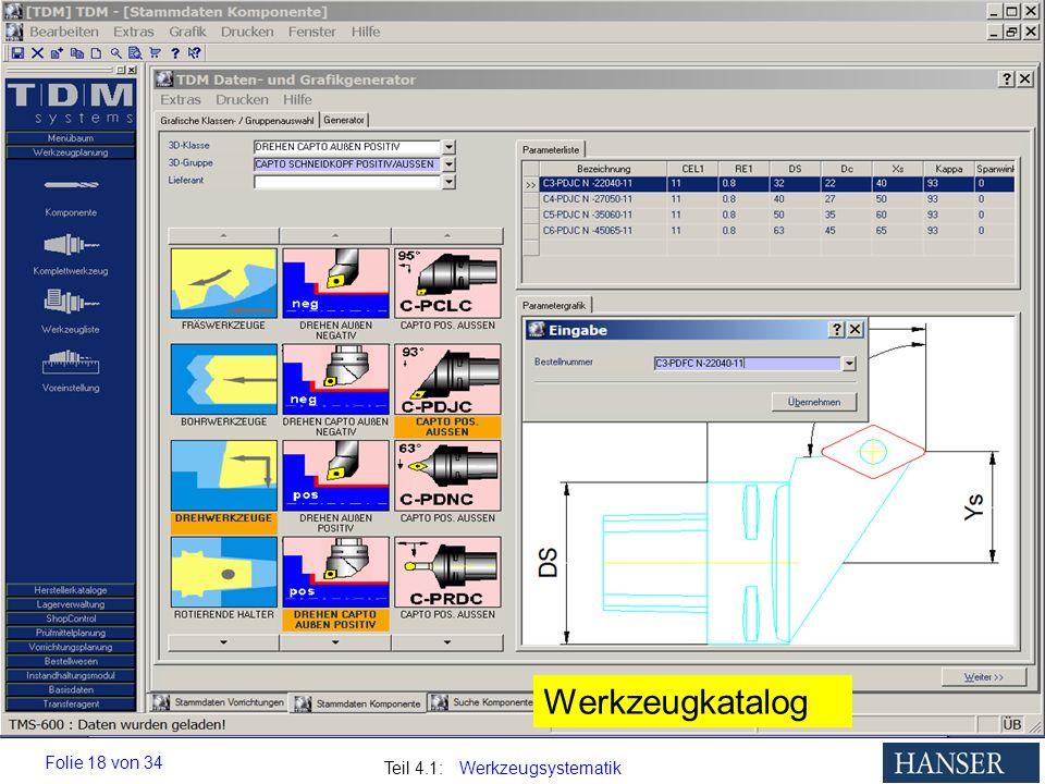 Auswahl von Werkzeugen im digitalen Werkzeugkatalog, entweder über die Klassen-/Gruppenstruktur (grafisch) oder über die Eingabe der Werkzeugbestellnummer.