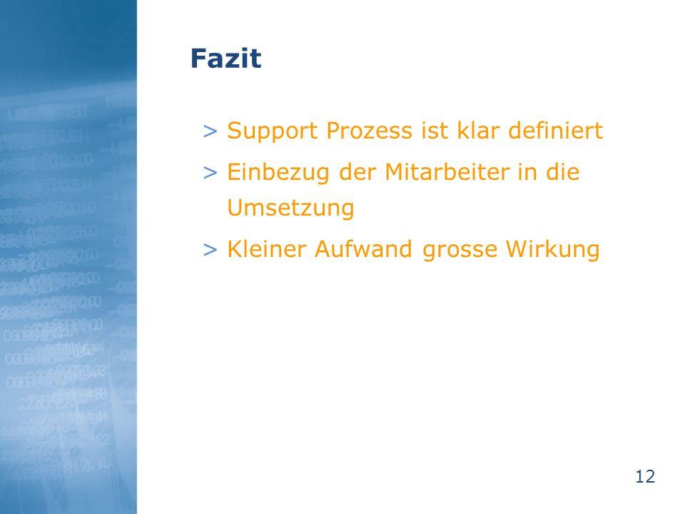 Fazit Support Prozess ist klar definiert