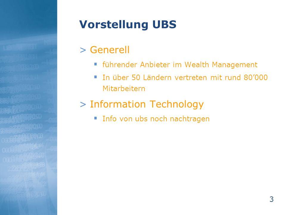 Vorstellung UBS Generell Information Technology