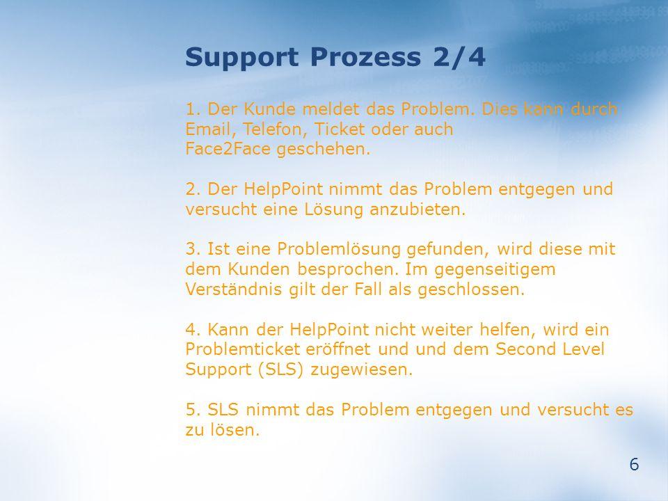 Support Prozess 2/4 1. Der Kunde meldet das Problem. Dies kann durch Email, Telefon, Ticket oder auch Face2Face geschehen.
