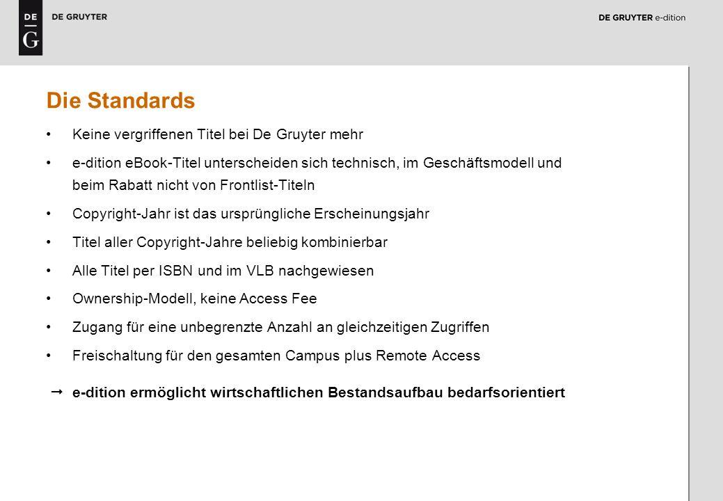 Die Standards Keine vergriffenen Titel bei De Gruyter mehr