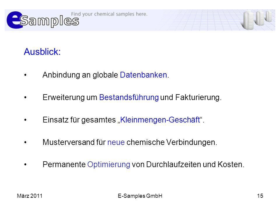 Ausblick: Anbindung an globale Datenbanken.