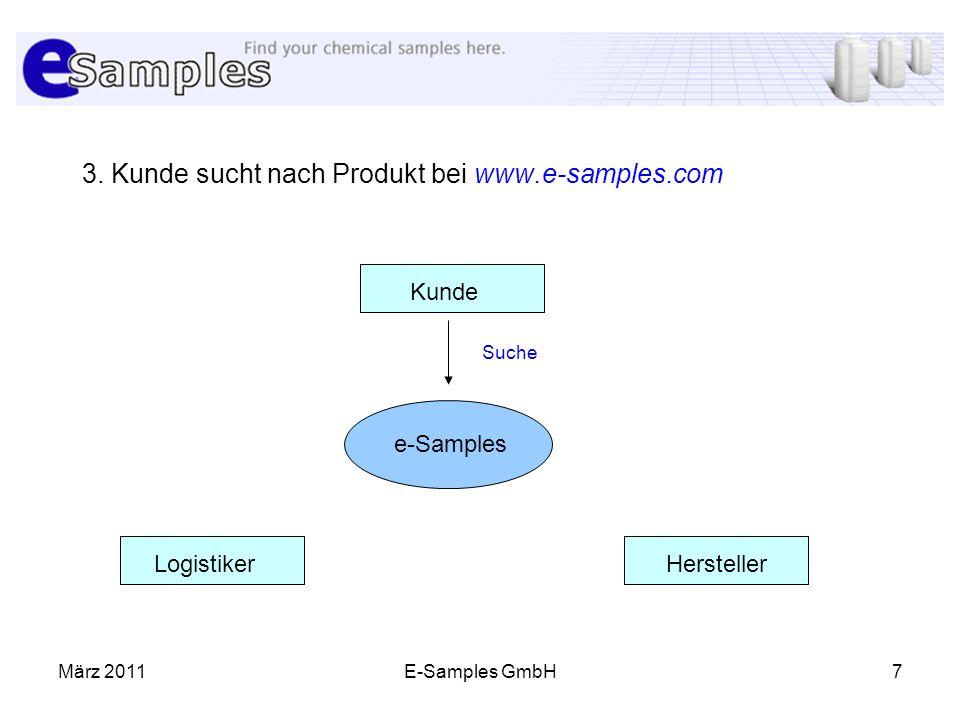 3. Kunde sucht nach Produkt bei www.e-samples.com