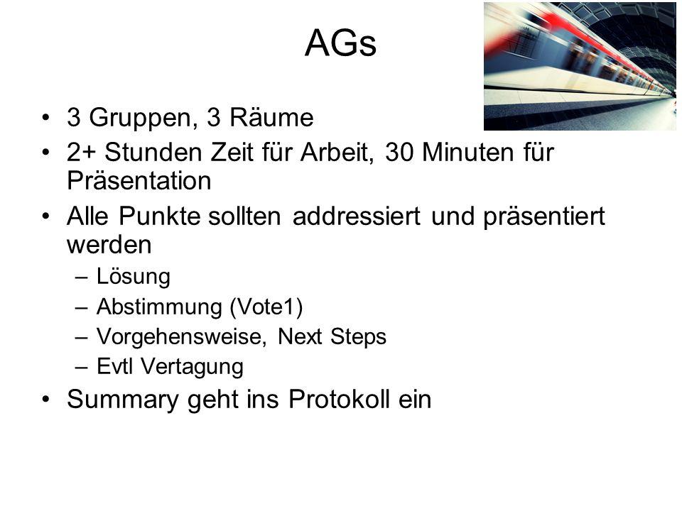 AGs 3 Gruppen, 3 Räume. 2+ Stunden Zeit für Arbeit, 30 Minuten für Präsentation. Alle Punkte sollten addressiert und präsentiert werden.
