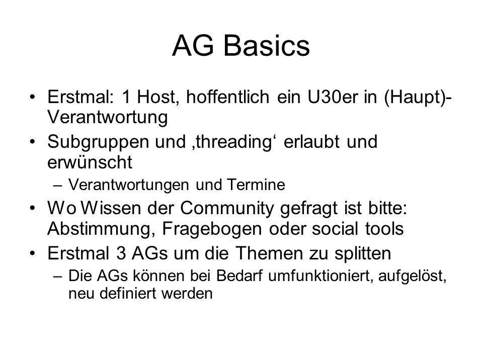 AG Basics Erstmal: 1 Host, hoffentlich ein U30er in (Haupt)-Verantwortung. Subgruppen und 'threading' erlaubt und erwünscht.