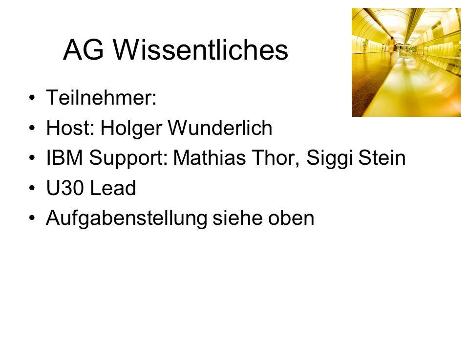 AG Wissentliches Teilnehmer: Host: Holger Wunderlich