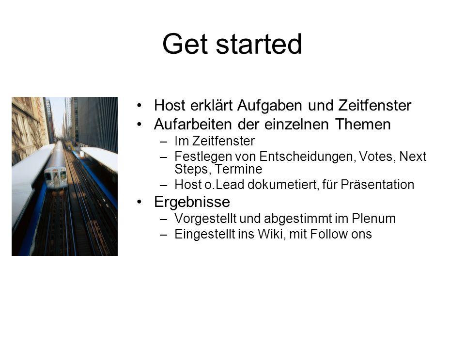 Get started Host erklärt Aufgaben und Zeitfenster