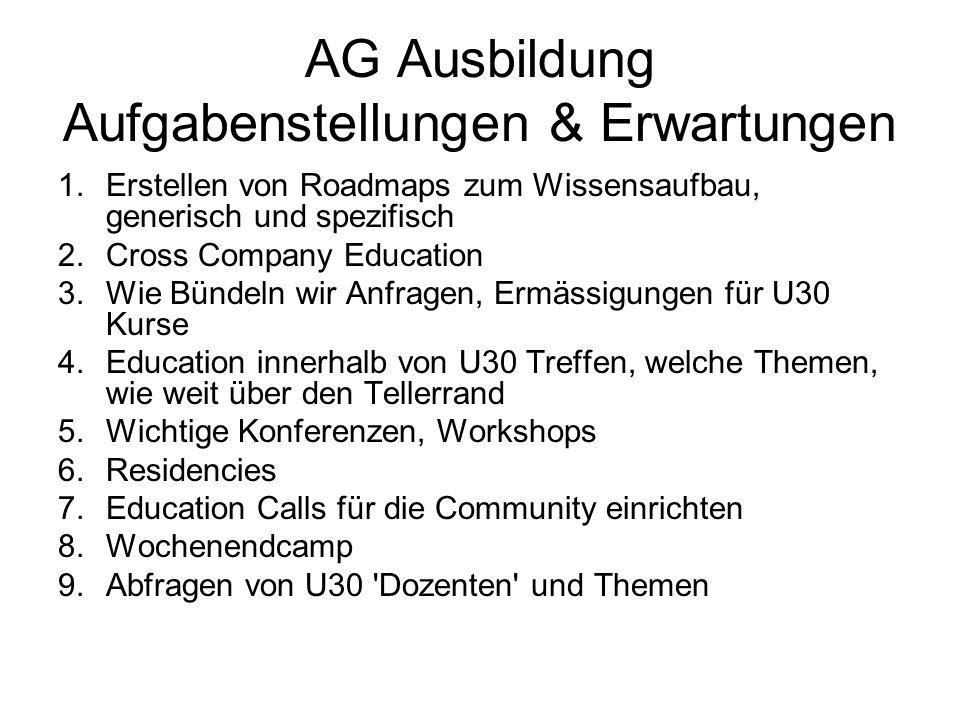 AG Ausbildung Aufgabenstellungen & Erwartungen