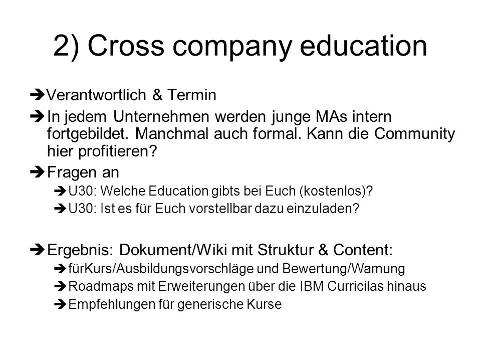 2) Cross company education