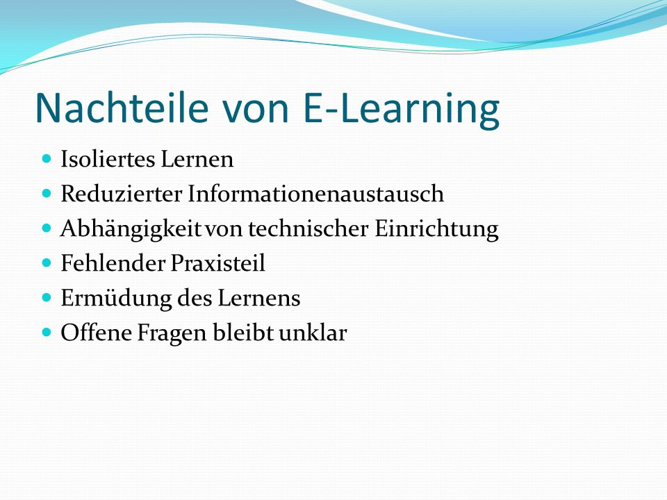 Nachteile von E-Learning