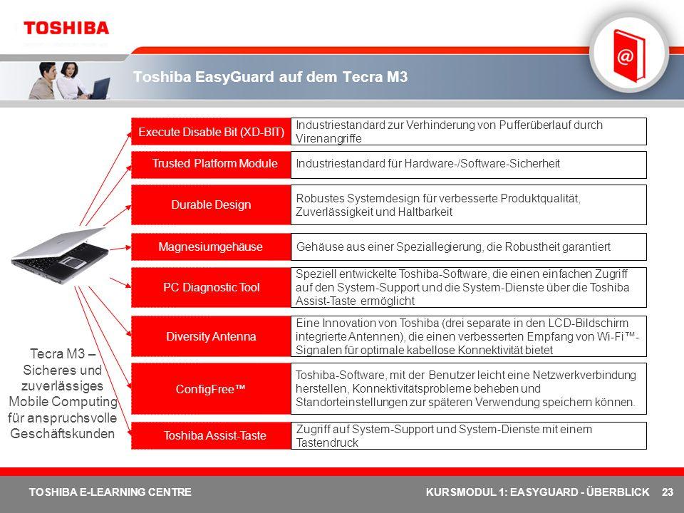Toshiba EasyGuard auf dem Tecra M3