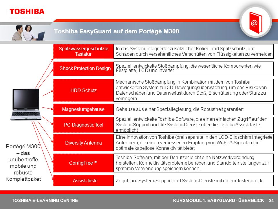 Toshiba EasyGuard auf dem Portégé M300