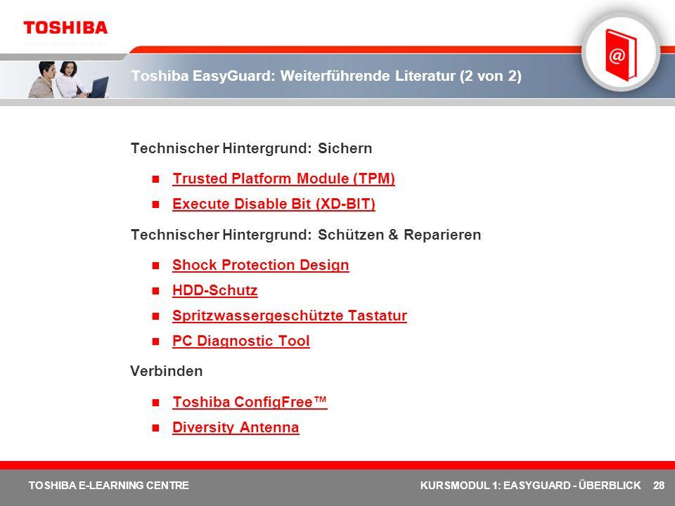 Toshiba EasyGuard: Weiterführende Literatur (2 von 2)