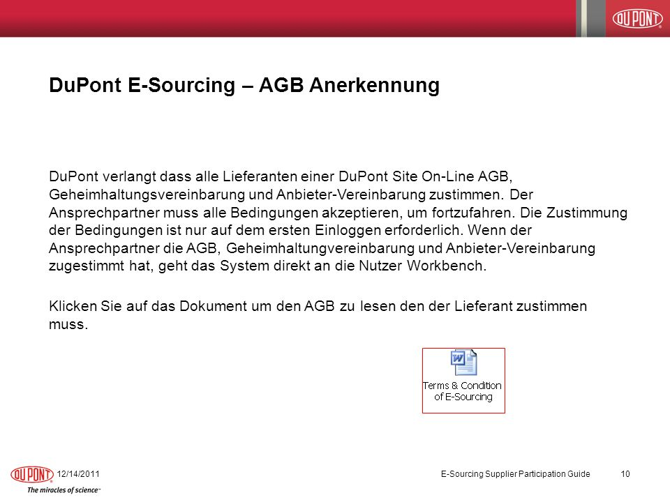 DuPont E-Sourcing – AGB Anerkennung