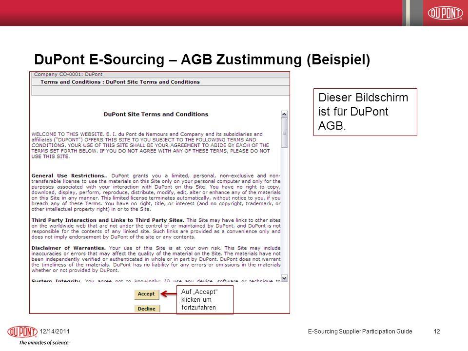 DuPont E-Sourcing – AGB Zustimmung (Beispiel)